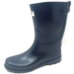 Mid Calf Zipper Matte Rain Boots, RB-5414, Navy